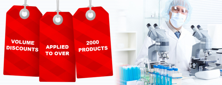 Laboratory Slide Bulk Discounts applied to many products throughout the store